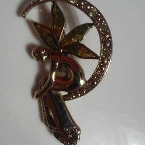 Beautiful Angel Gold and Multi Color Wing Brooch